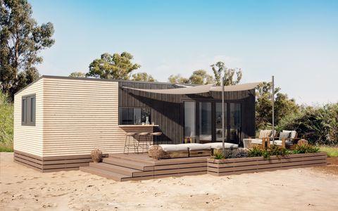 Casa modular de construcción sostenible e inspiración japonesa