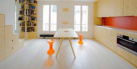 Room, Wood, Interior design, Floor, Window, Flooring, Wall, Ceiling, Table, Furniture,