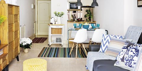 Living room, Room, Blue, Furniture, Interior design, Property, Floor, Yellow, Home, Building,