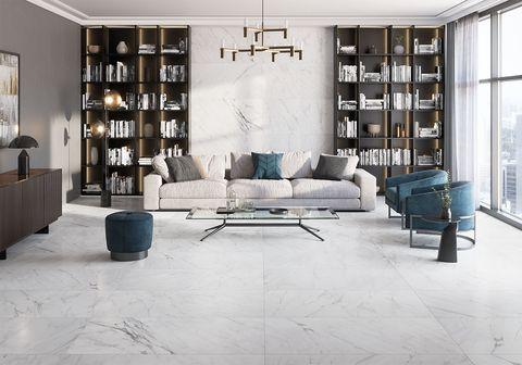 salon reformado con pavimento ceramico