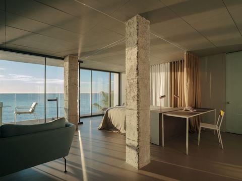 casa de diseño minimalista y abierto con vistas al mar