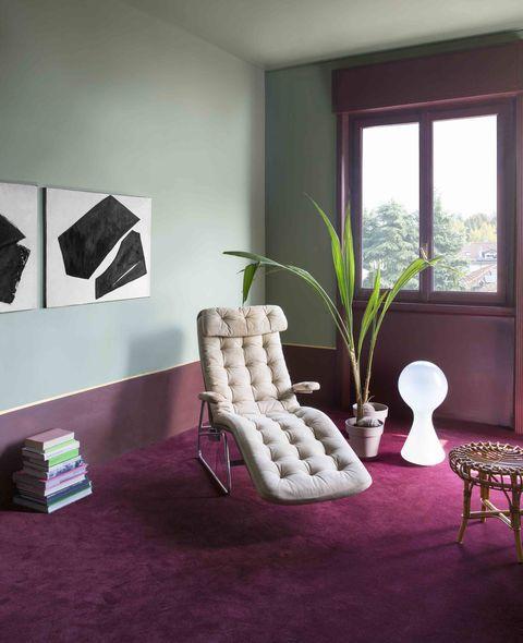 purple carpet, green walls, living room