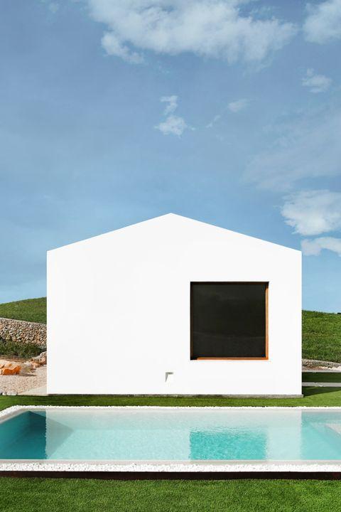 House, Architecture, Property, Home, Building, Facade, Design, Grass, Real estate, Rectangle,