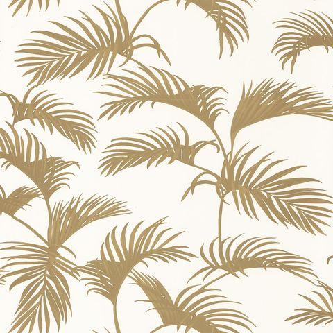 papel pintado con hojas de palmera doradas