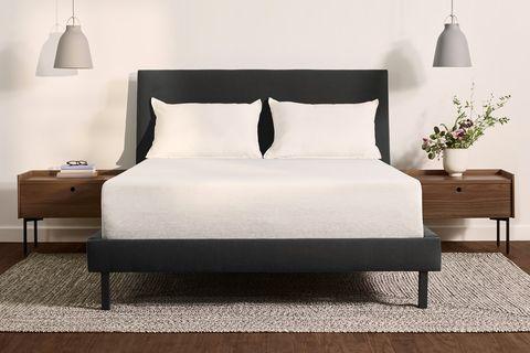 Bed, Furniture, Mattress, Bed frame, Bedroom, Room, Bed sheet, Interior design, Nightstand, Bedding,