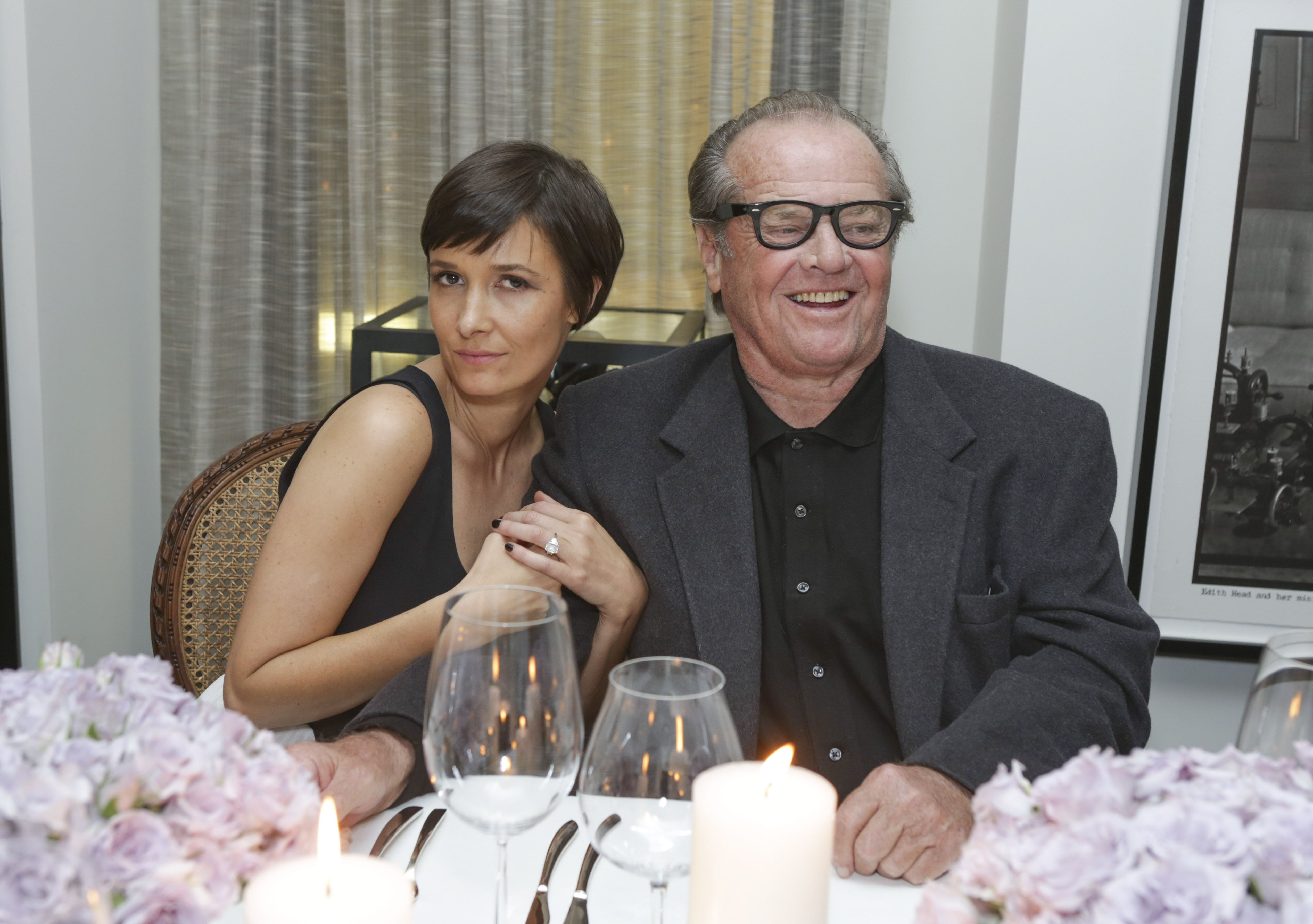 Cassandra Grey and Jack Nicholson at a Violet Gray dinner in 2014.