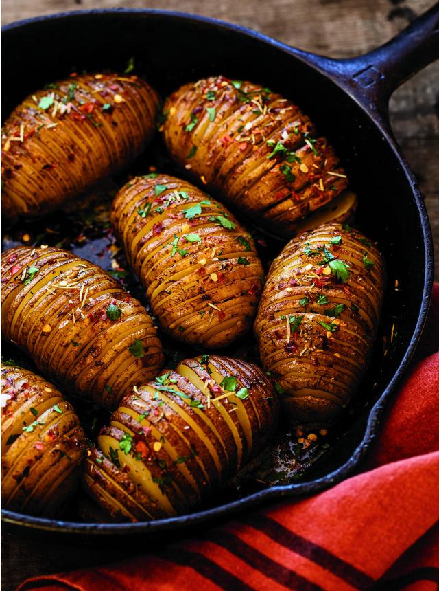 cast iron hasselback potatoes
