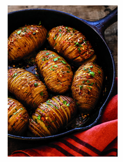 cast iron hasselback potatoes