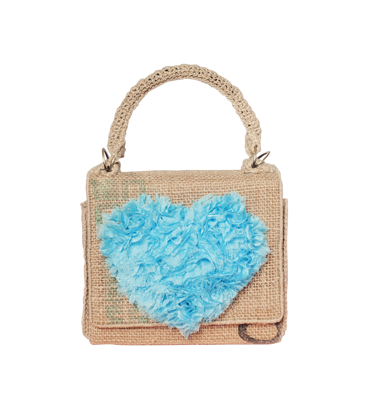 Bolso, Lola mini con corazon de organza azul , de Castellana Lane
