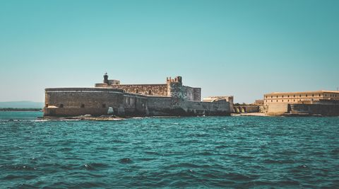 Fortification, Water, Sea, Waterway, Sky, Architecture, Vehicle, Vacation, Tourism, Ocean,