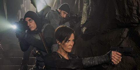 """the old guard 2020   clockwise from top  matthias schoenaerts """"booker', charlize theron """"andy"""",  luca marinelli """"nicky""""  photo credit aimee spinksnetflix ©2020"""