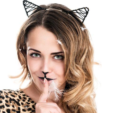 woman wearing diy cat costume