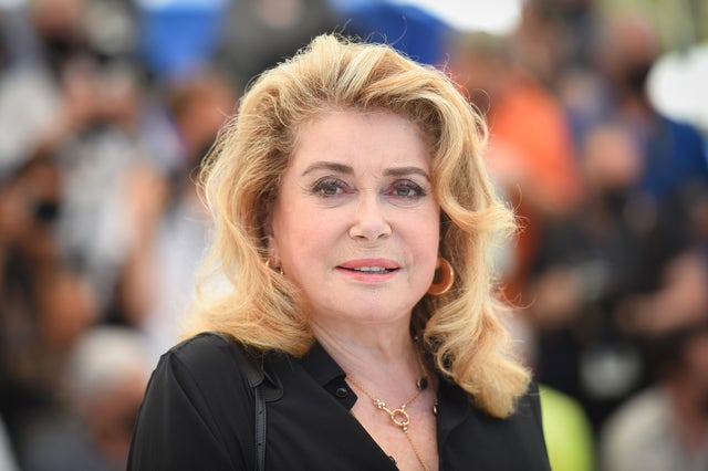 """cannes, france   july 11 catherine deneuve attends the """"de son vivant peaceful"""" photocall during the 74th annual cannes film festival on july 11, 2021 in cannes, france photo by stephane cardinale   corbiscorbis via getty images"""