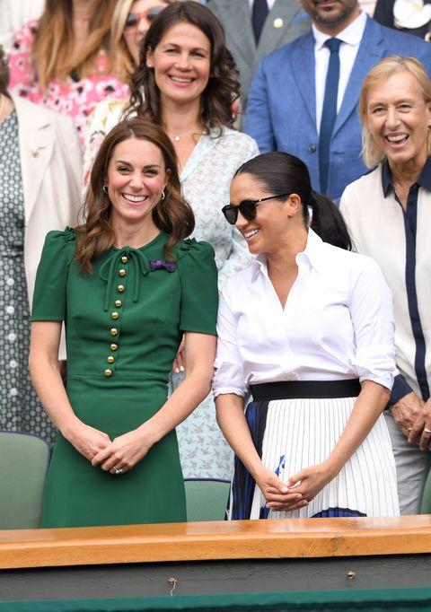 Kate Middleton and Meghan Markle at Wimbledon 2019 match