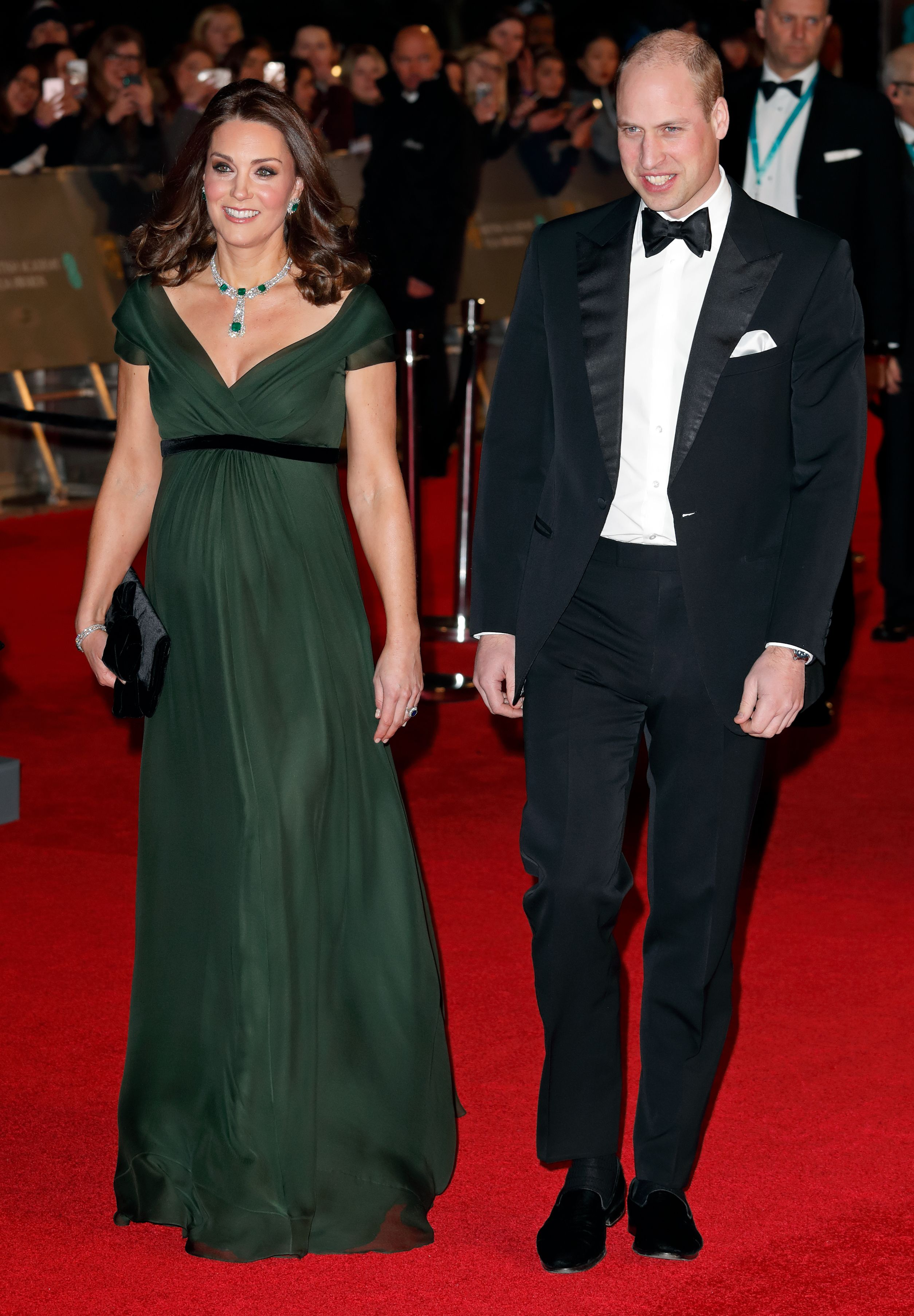 Middleton stunned in a forest green Jenny Packham gown with an empire waist, providing a masterclass in maternity dressing for a black tie occasion.