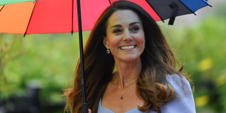 Kate Middleton Stepped Out in the Cutest Lavender Midi Dress and Rainbow Umbrella