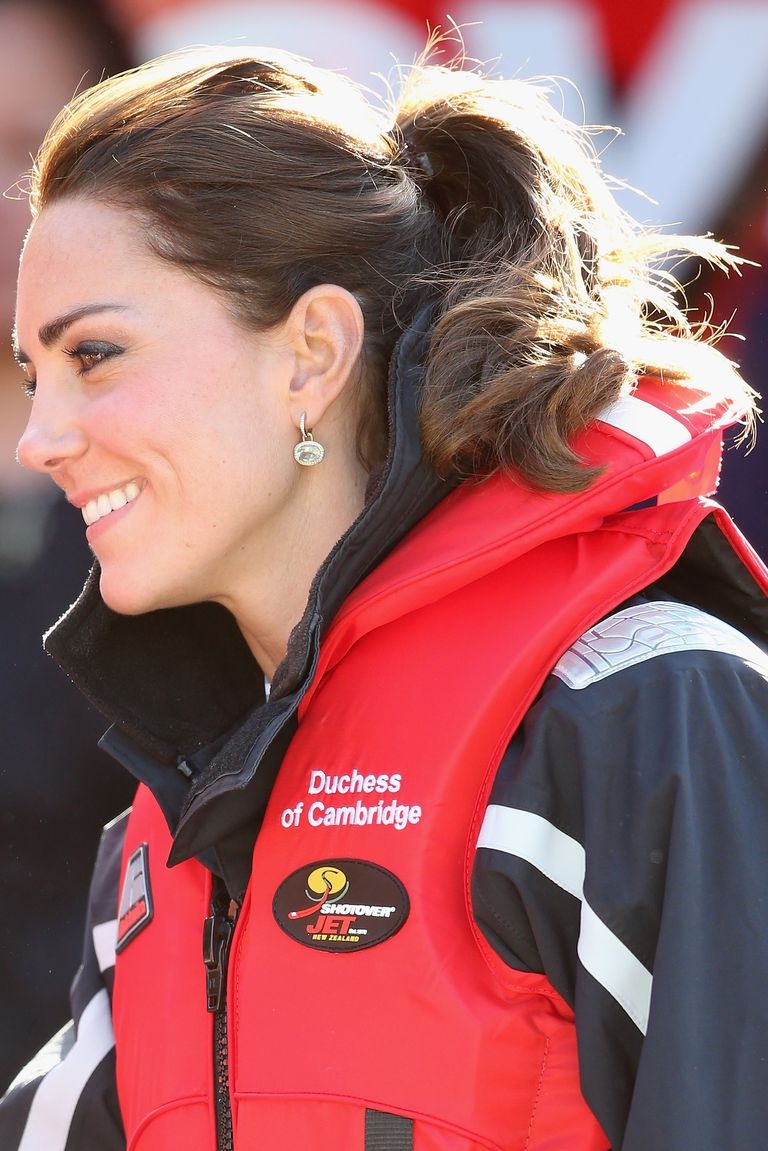 A river ride on the Shotover Jet in New Zealand called for a sporty, no-fuss ponytail for the Duchess.