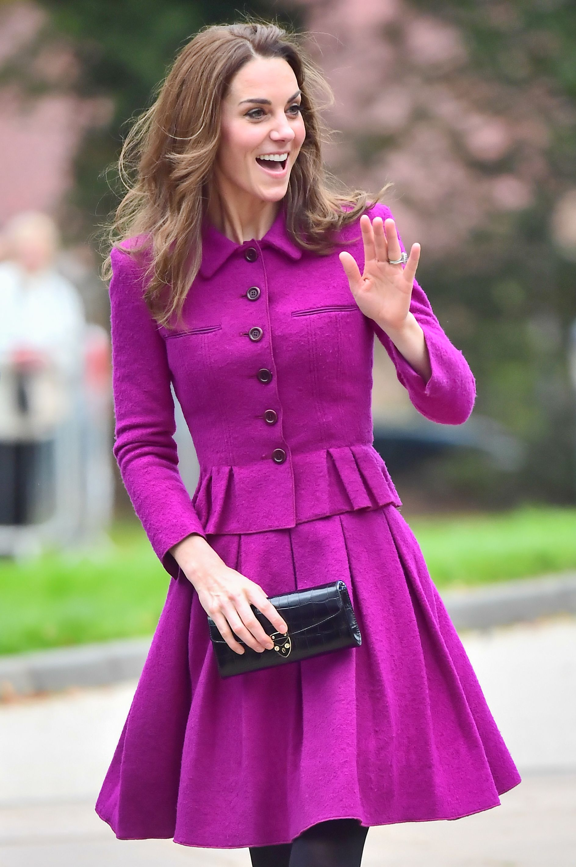 The Duchess of Cambridge wows in purple to open new children's hospice