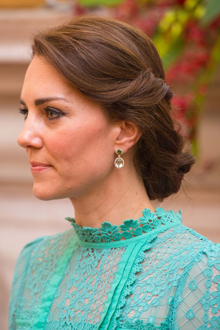Middleton twisted her hair into a low, loose bun for her and Prince William's visit to India in 2016, in perfect juxtaposition to her bright and intricate dress.