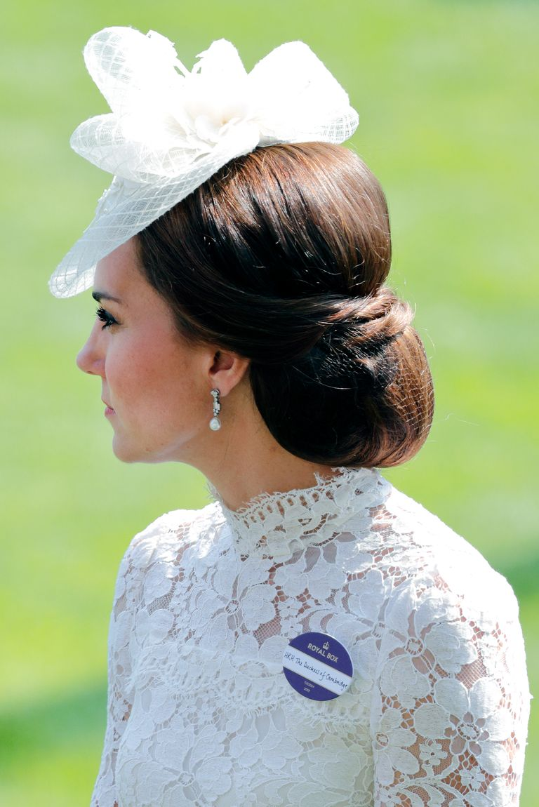 For the first day of the 2017 Royal Ascot, Kate styled a low chignon, but criss-crossed a few strands at the top for a sophisticated twist.