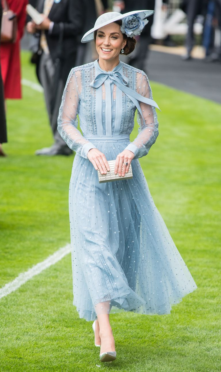 Kate chose an Elie Saab dress and matching pale blue hat for the first day of Royal Ascot . Silver heels and a metallic clutch finished off the look.