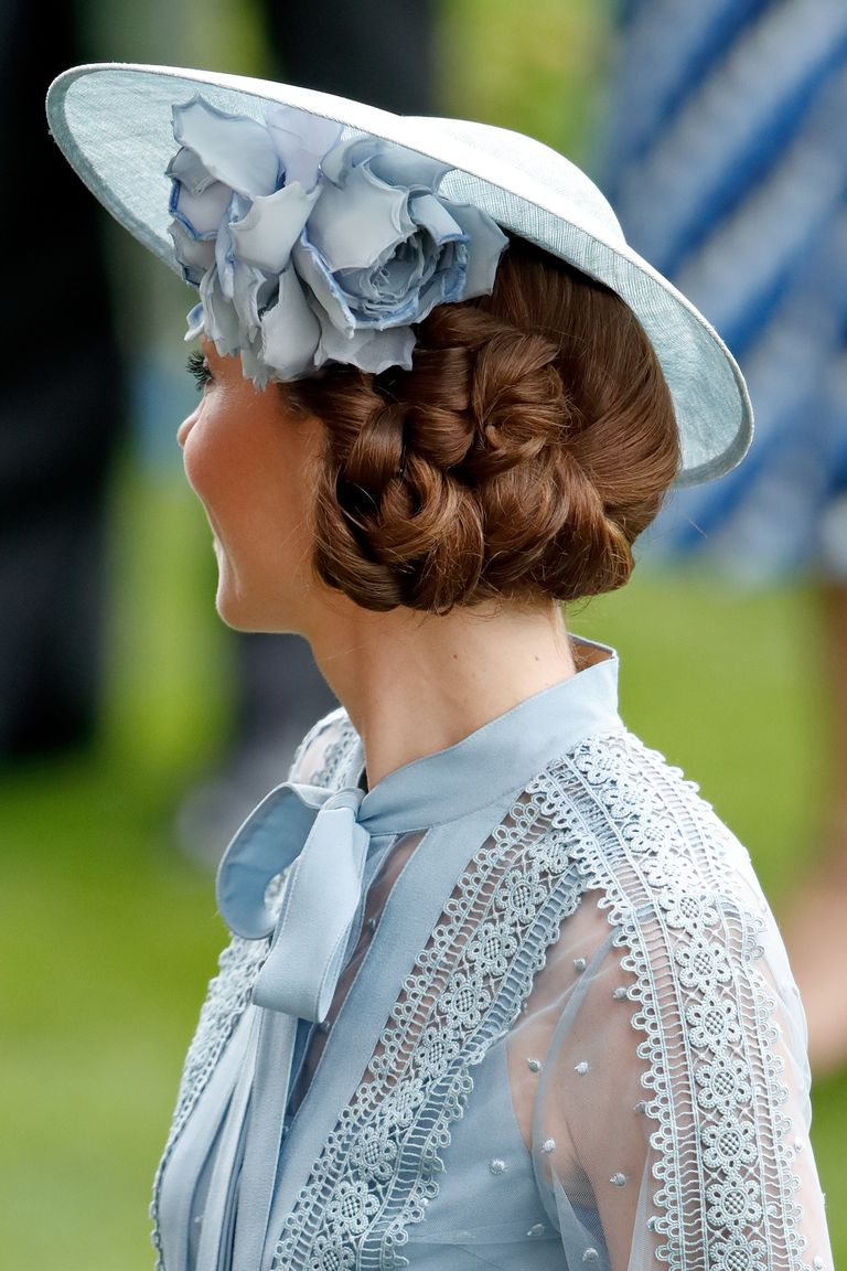 For this complicated style, Kate wore an intricate, knotted chignon off-center to complement the angle of her fascinator.
