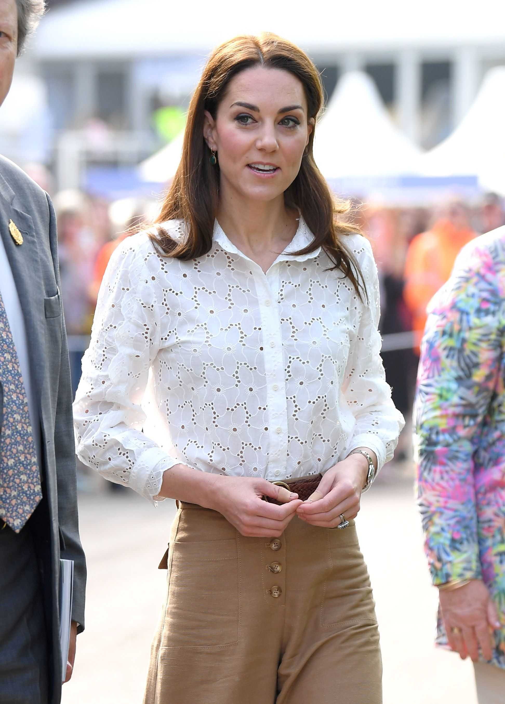 Kate Middleton Wore the Duchess Version of a Gardening Outfit: an Eyelet Blouse, Culottes, and Sneakers