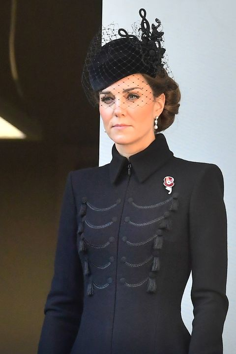 kate middleton wears a black coat dress to honor remembrance sunday sparkly padded headband