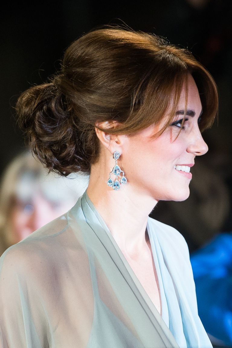 At the Royal Film Performance in 2015, Kate chose a curly updo with wispy bangs.