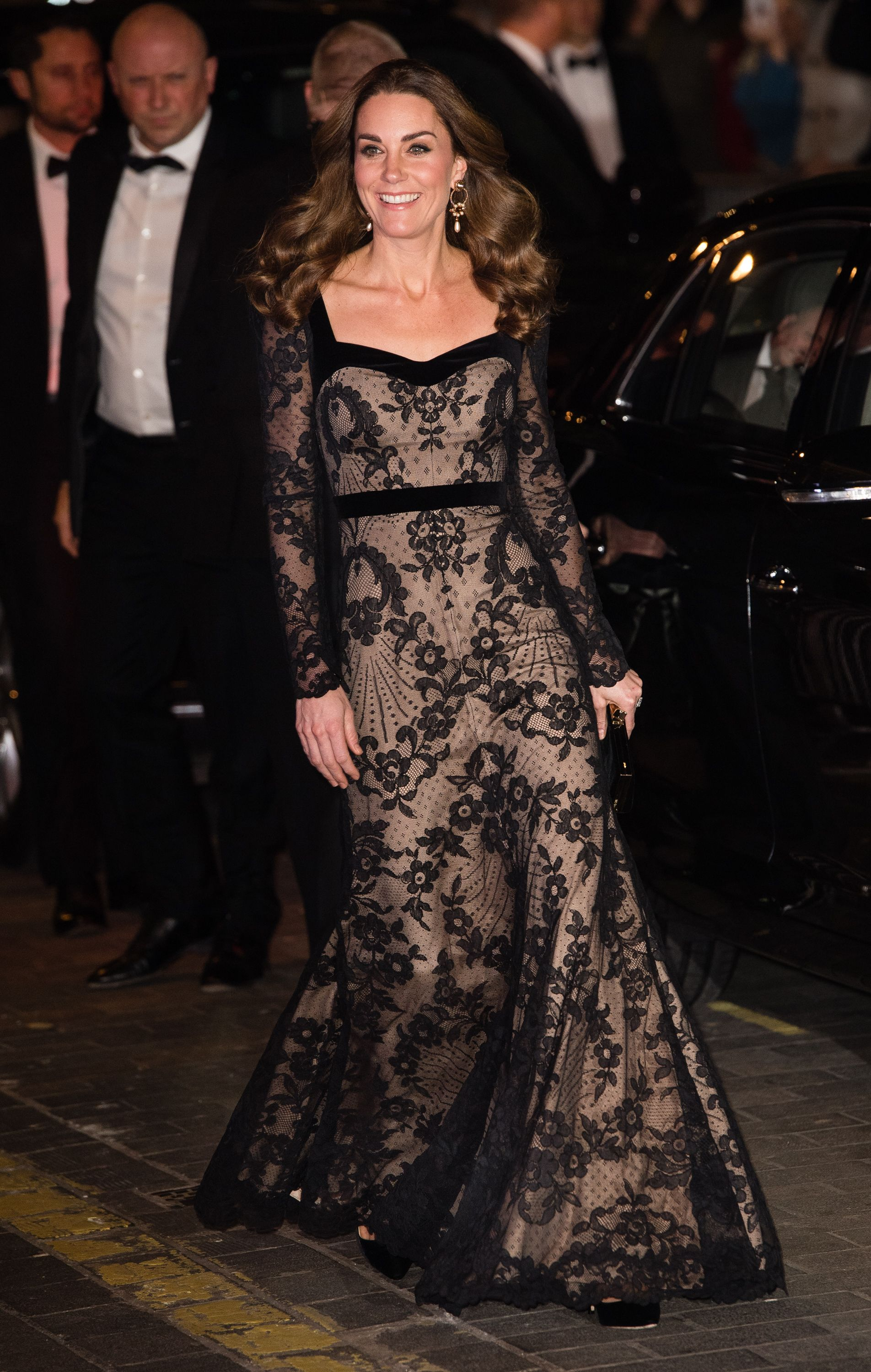 Kate Middleton Stuns in a Sheer Lace Alexander McQueen Gown at the Royal Variety Performance