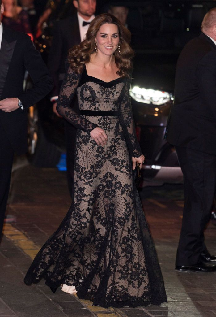 Kate Middleton Stuns in a Black Lace Gown at the Royal Variety Performance