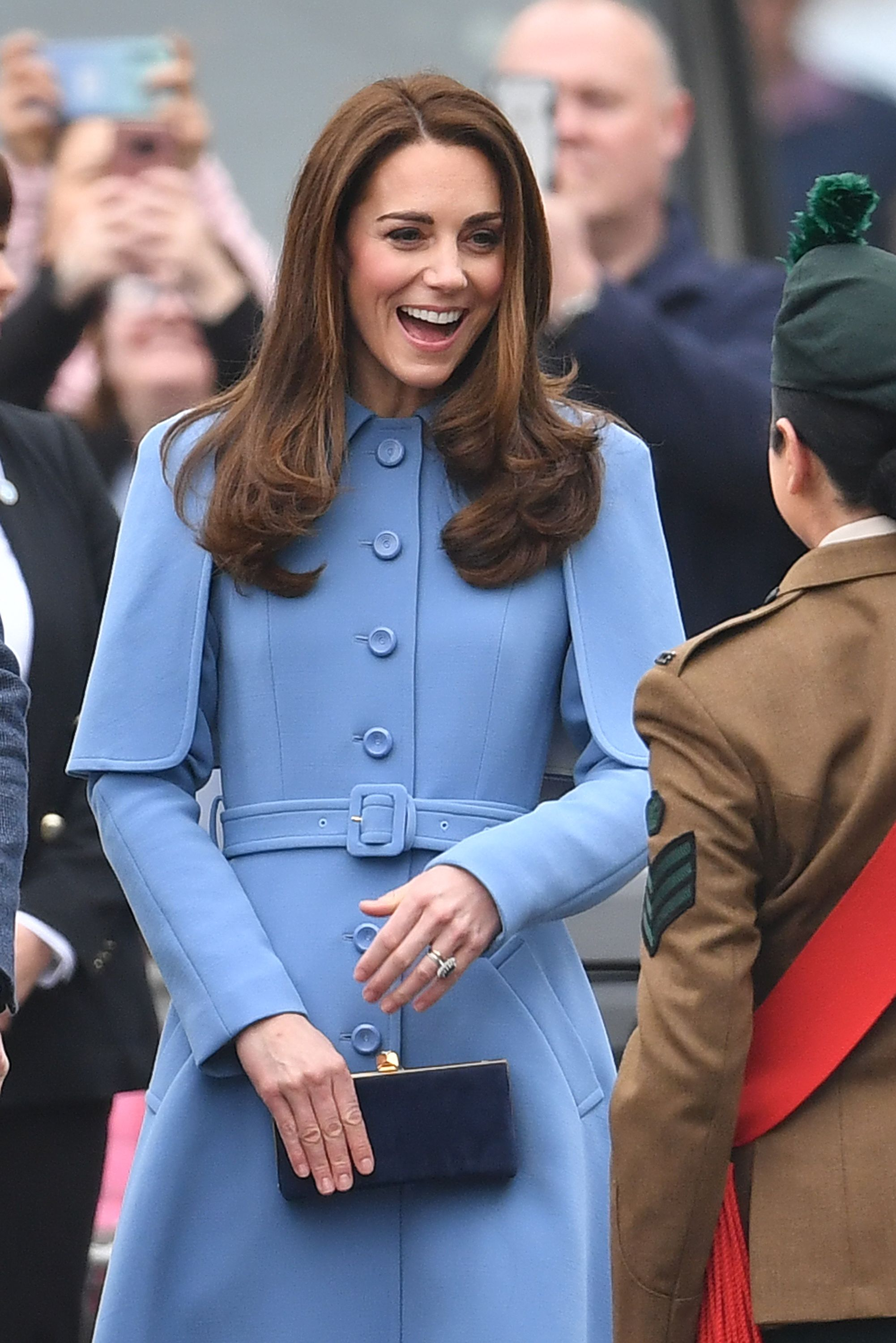 2a59e79bdb90c The Duchess of Cambridge steps out in royal blue for second day in Northern  Ireland
