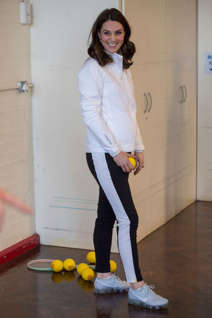 Shop Now Nike Air VaporMax Flyknit Running Shoes, $190 Duchess Kate wore her ice blue pair of Nike Air VaporMax sneakers to the Wimbledon Junior Tennis Initiative at Bond Primary School on January 17, 2018 in London.