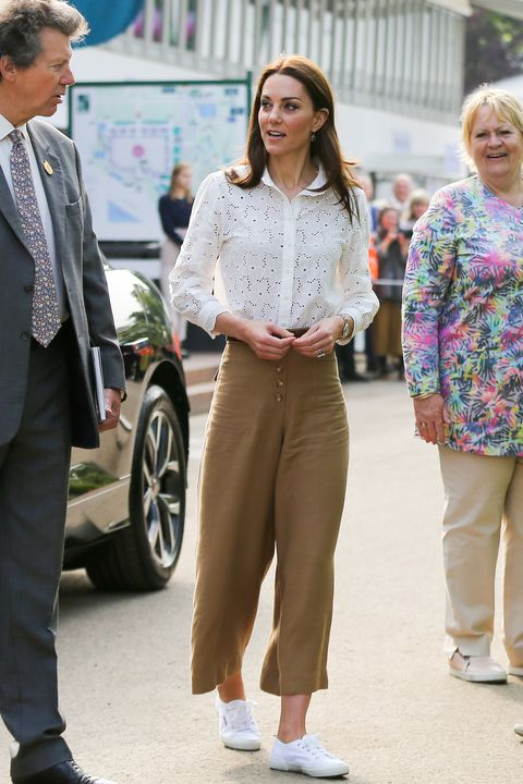 catherine, duchess of cambridge seen arriving at her 'back