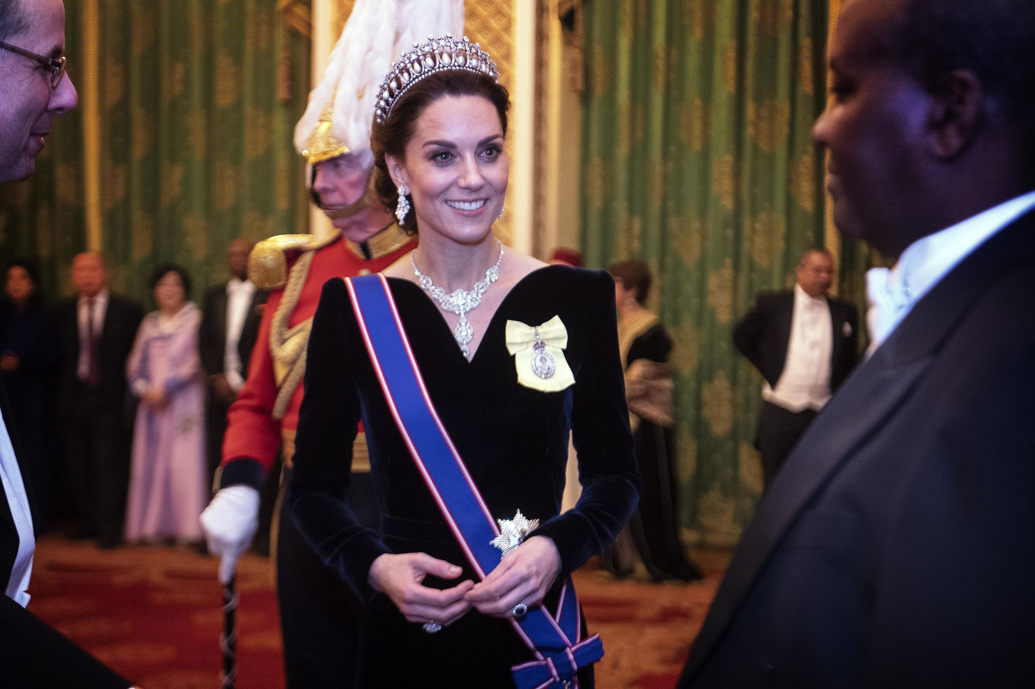 Kate Middleton Wore a Velvet Alexander McQueen Look to the Queen's Diplomatic Reception