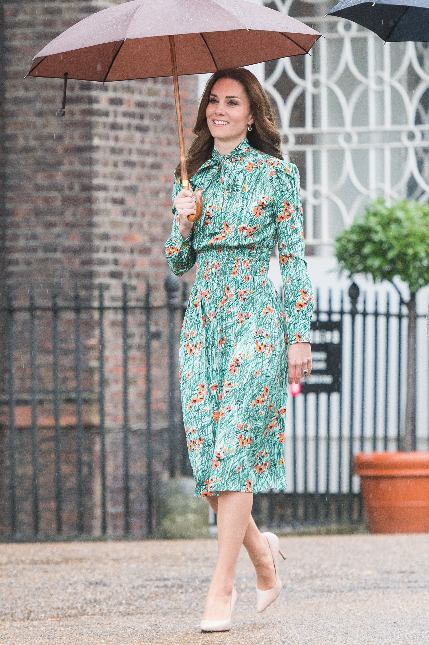 Shop Now L.K. Bennett Fern Heels in Trench, $295 Kate first wore these four-inch L.K. Bennett heels during the royal tour of India in 2016 and has continued to wear them to events on a regular basis, including the August 2017 dedication of the White Garden at Kensington Palace seen here.