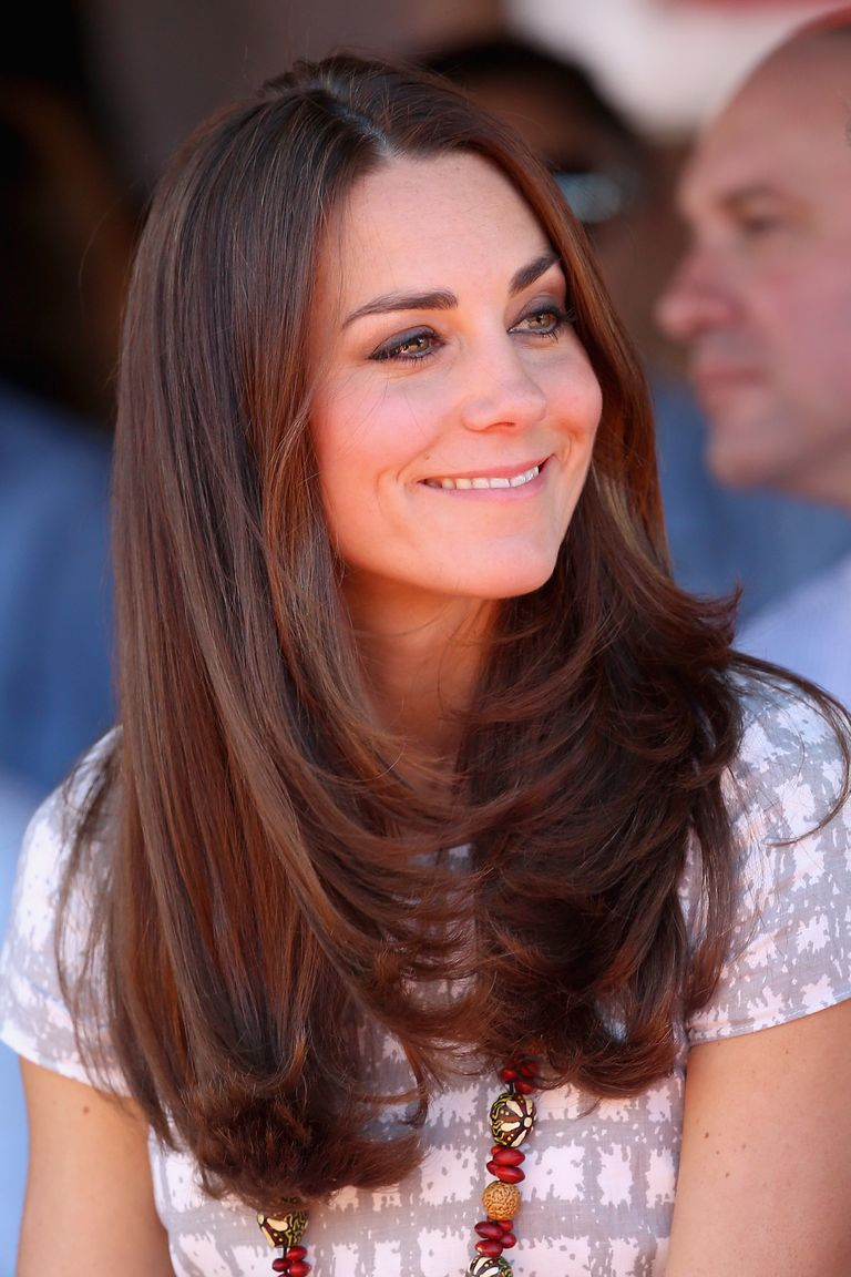 The Duchess kept things simple on a trip to Australia in 2014, enhancing her long layers with a simple blowout.