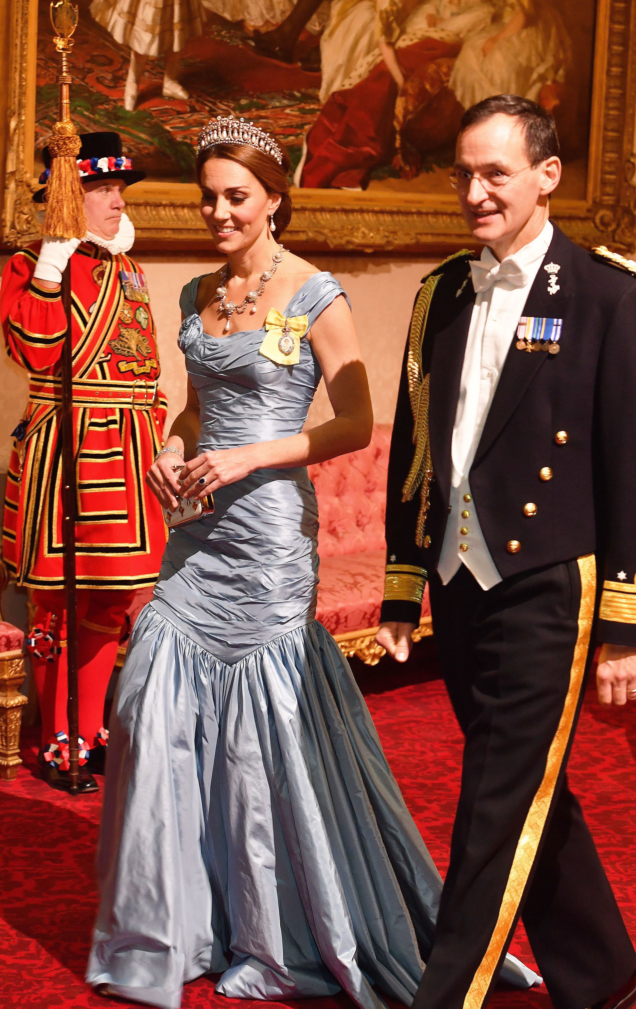 4c89b9cadc9e Kate Middleton Wears an Icy Blue Alexander McQueen Dress to the Dutch State  Dinner