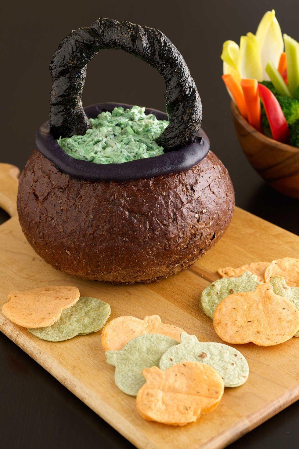Spinach Dip in Bread Bowl Cauldron