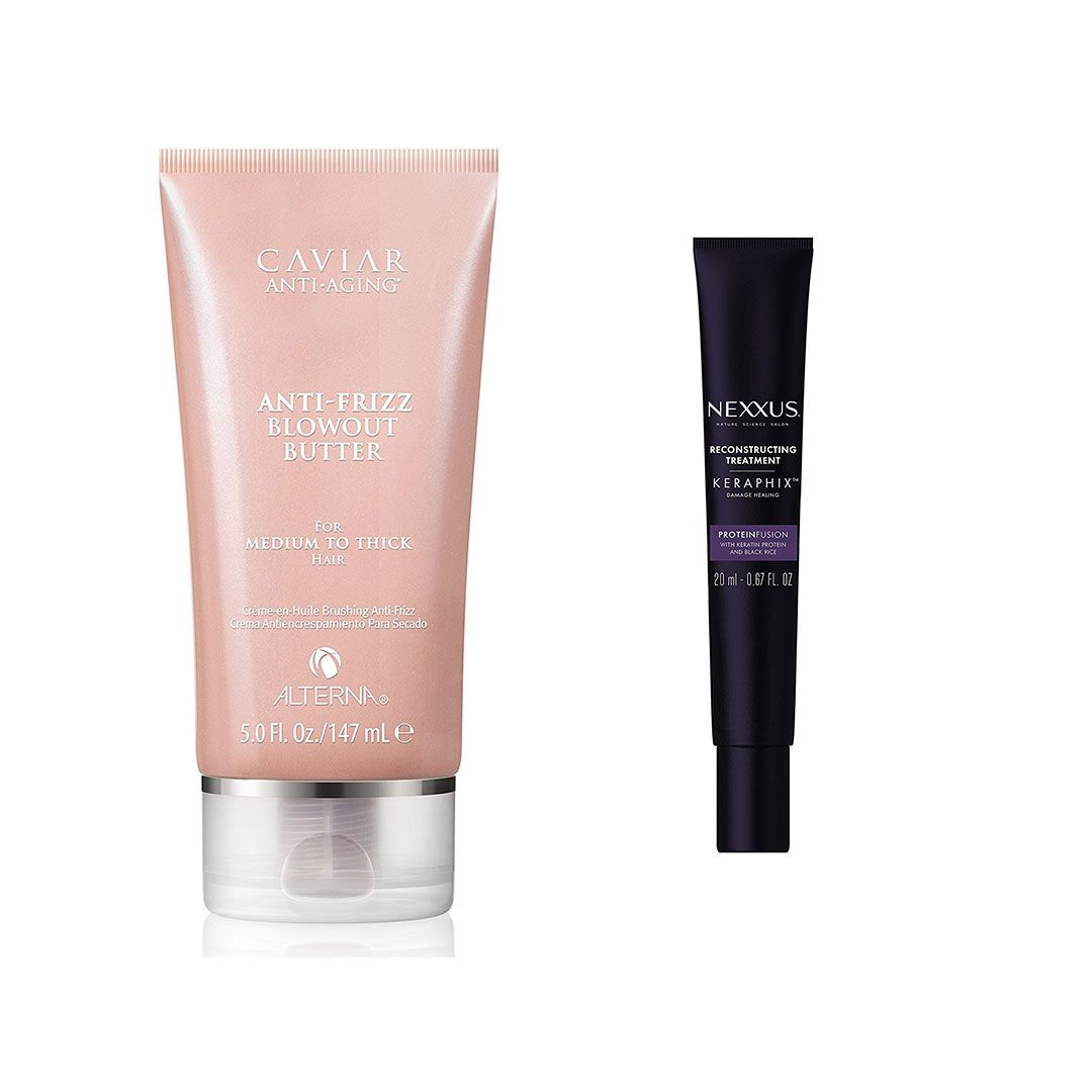 Alterna Haircare Caviar Anti-Frizz Blowout Butter and Nexxus Keraphix