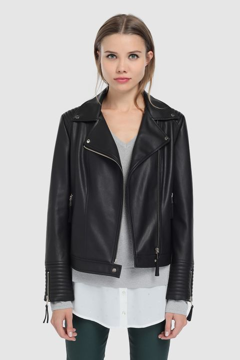 Clothing, Jacket, Leather, Leather jacket, Outerwear, Black, Sleeve, Top, Textile, Shoulder,