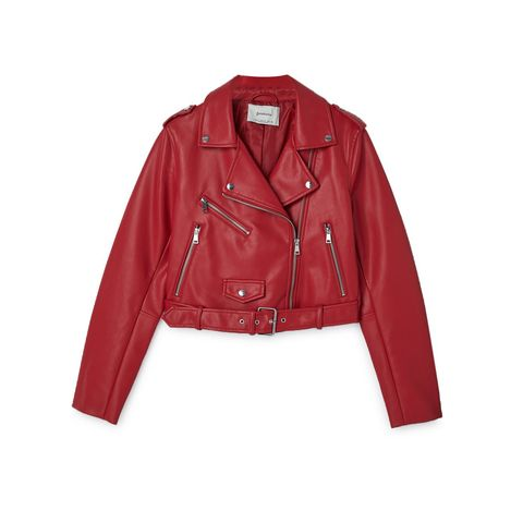 Clothing, Jacket, Outerwear, Leather, Leather jacket, Sleeve, Red, Textile, Collar, Top,