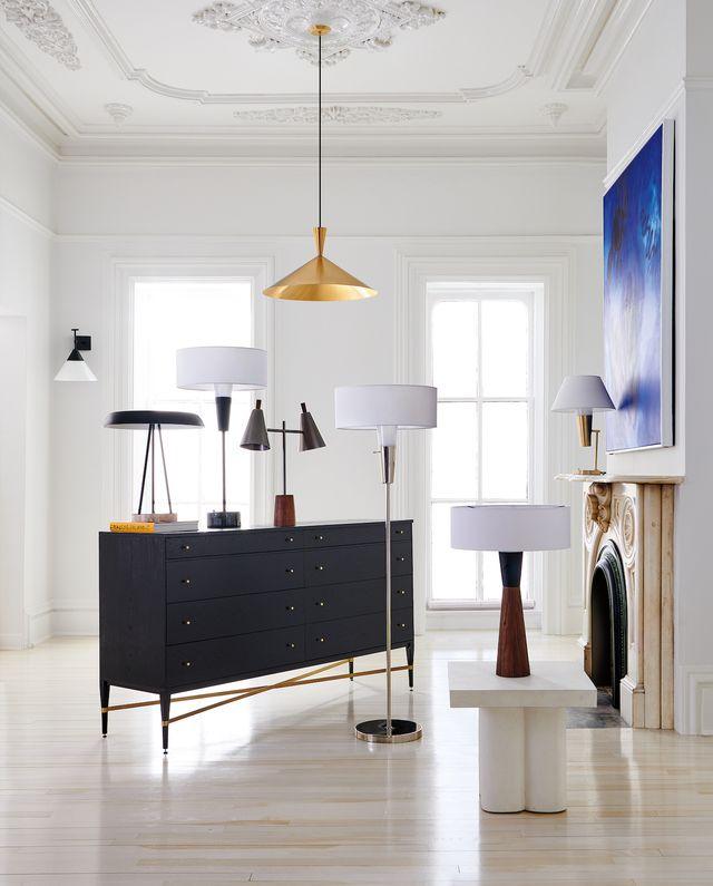 cb2 x paul mccobb lamps and dresser