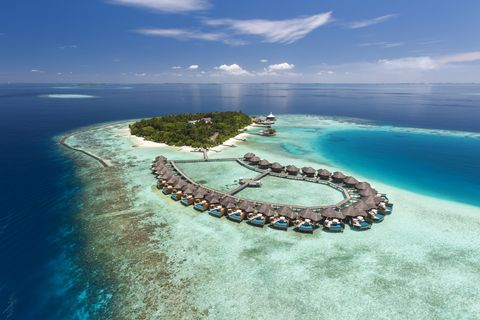 Artificial island, Island, Water, Natural landscape, Water resources, Azure, Atoll, Coastal and oceanic landforms, Sea, Tropics,