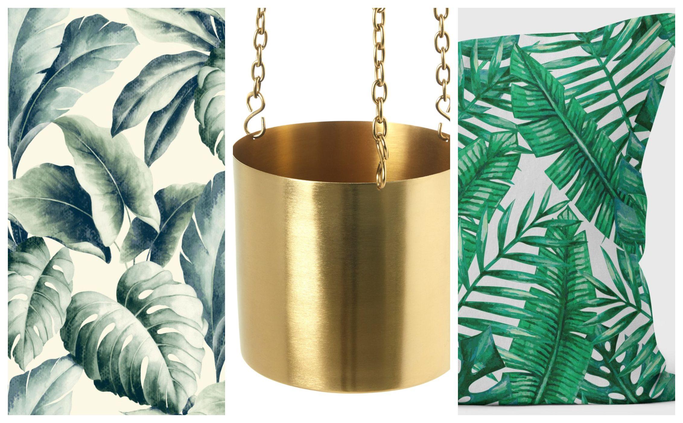 CBB get the look - palm print, gold planter