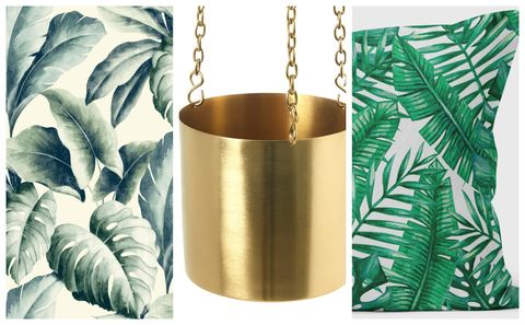 CBB get the look - palm print, gold planter