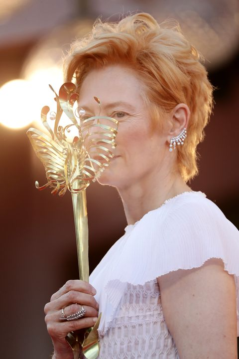 venice, italy   september 02 actress tilda swinton walks the red carpet ahead of the opening ceremony and the lacci red carpet during the 77th venice film festival at  on september 02, 2020 in venice, italy photo by vittorio zunino celottogetty images