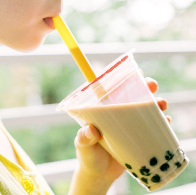 Drink, Milkshake, Food, Drinking, Smoothie, Drinking straw, Juice, Child, Dairy, Milk,