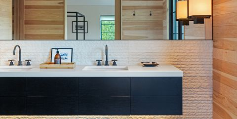 Countertop, Room, Cabinetry, Furniture, Property, Interior design, Sink, Kitchen, Tile, Tap,