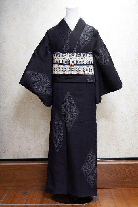 黒地,菱模様,結城紬,着物,帯,アンティーク着物,池田由紀子